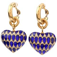 Plique de Jour Enamel 18 Karat Yellow Gold Italian Heart Dangle Hoop Earrings