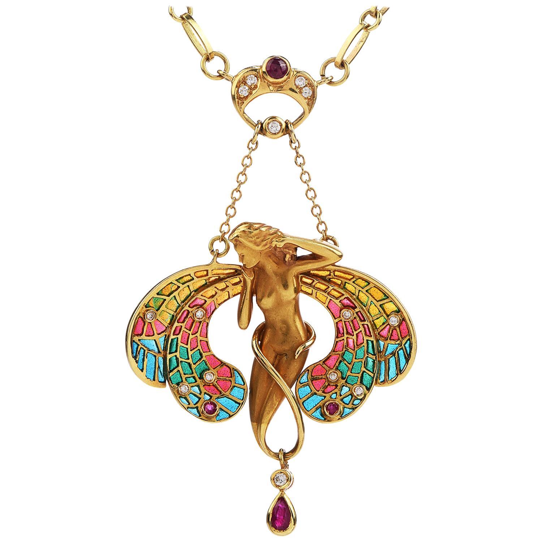 Plique Jour Enamel Diamond Ruby 18 Karat Gold Pendant Necklace