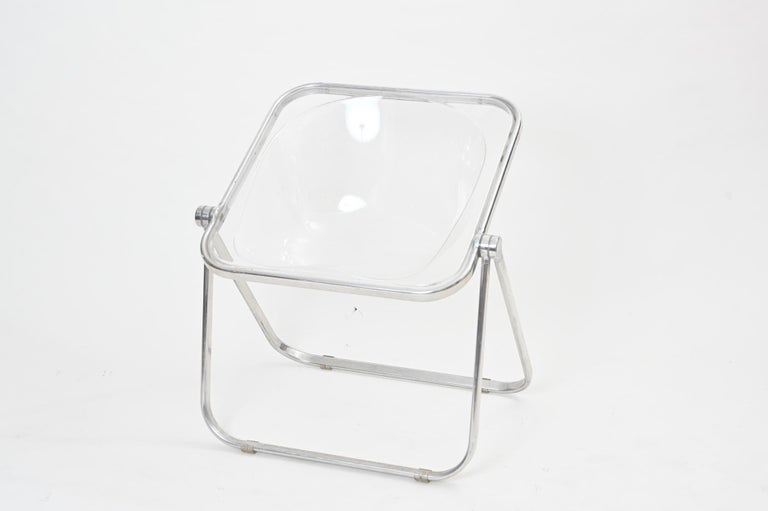 Italian Plona Folding Chairs in Clear Lucite by Castelli, circa 1970 For Sale