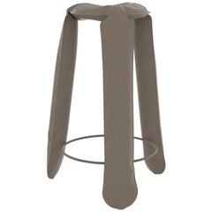 Plopp Bar Stool in Beige Grey Steel by Zieta
