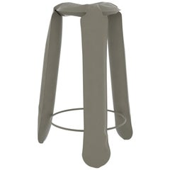 Plopp Bar Stool in Moss Grey Steel by Zieta