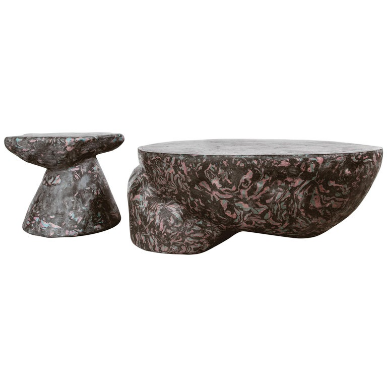 Plote and Prov Tables Set in Scagliola, Cement for Indoor or Outdoor by Mtharu For Sale