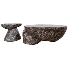 Plote and Prov Tables Set in Scagliola, Cement for Indoor or Outdoor by Mtharu