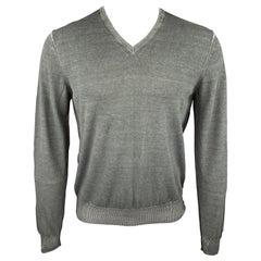 PLOUMANACH Size M Slate Dyed Cotton V-Neck Pullover