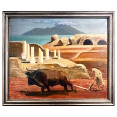 """Plowing in Carthage,"" Tunisian Landscape with Roman Columns in Blue & Brick Red"