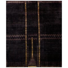 Plum Purple Hand Knotted Eco-Friendly Natural Silk Area Rug in Stock