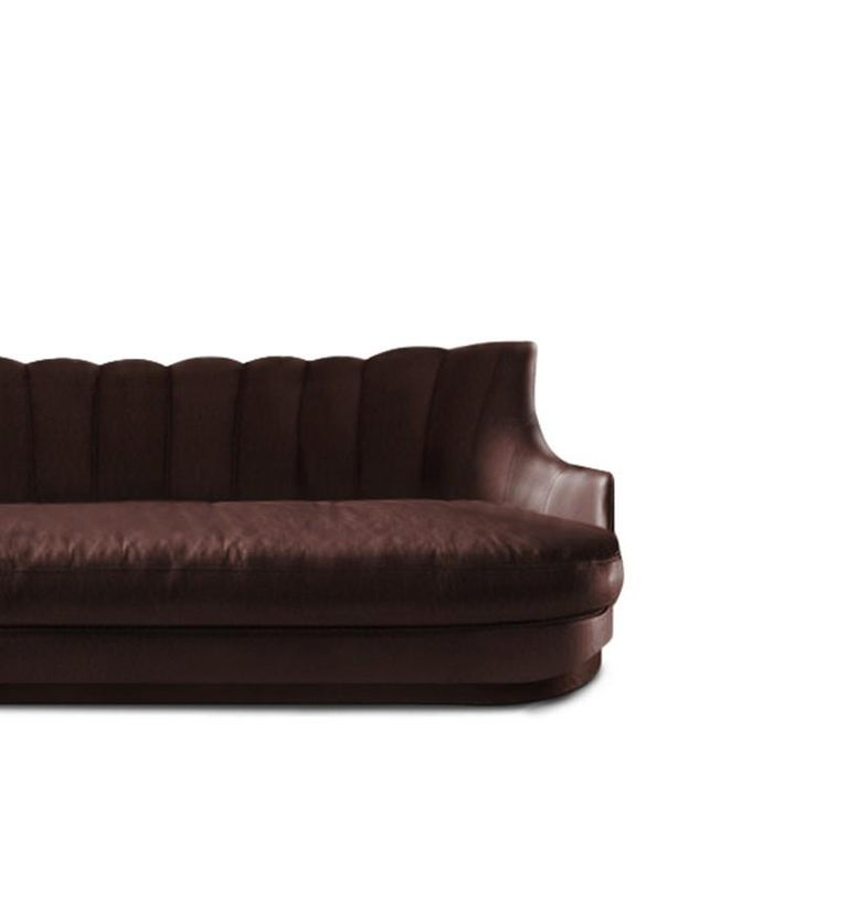 Art Deco Plum Sofa in Faux Leather And Fully Upholstered Legs For Sale