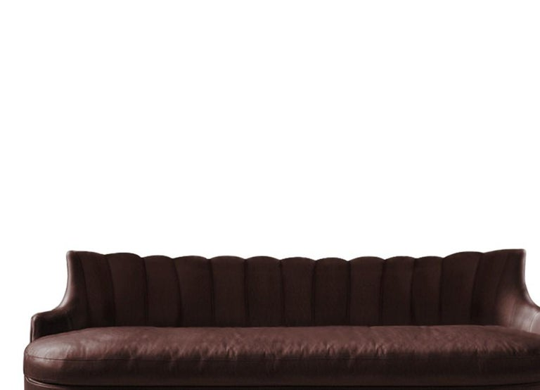 Portuguese Plum Sofa in Faux Leather And Fully Upholstered Legs For Sale