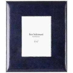 "Ben Soleimani Pluma Leather Picture Frame - Sapphire 5"" x 7"""