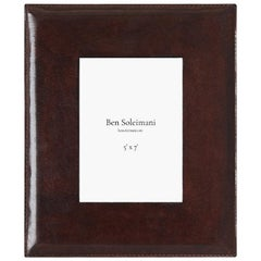 "Ben Soleimani Pluma Leather Picture Frame - Chocolate 5"" x 7"""