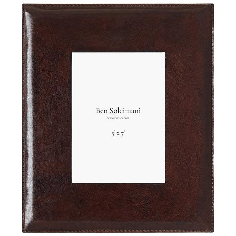 """Ben Soleimani Pluma Leather Picture Frame - Chocolate 5"""" x 7"""" For Sale"""