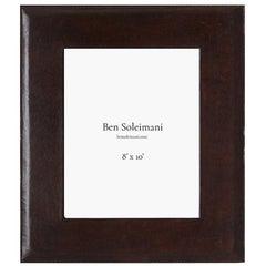 "Ben Soleimani Pluma Leather Picture Frame - Chocolate 8"" x 10"""