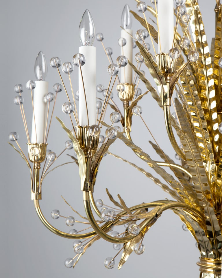 Modern Plume 12 Chandelier Designed by Tony Duquette Remains Lighting in Polished Brass For Sale
