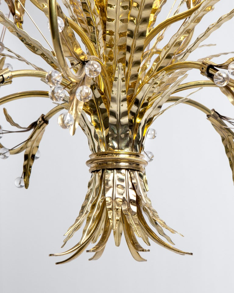 American Plume 12 Chandelier Designed by Tony Duquette Remains Lighting in Polished Brass For Sale