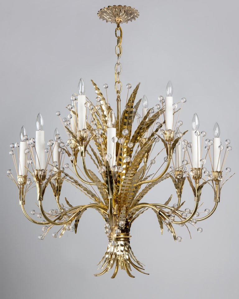 Contemporary Plume 12 Chandelier Designed by Tony Duquette Remains Lighting in Polished Brass For Sale