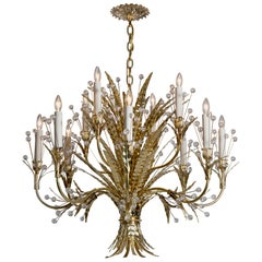 Plume 12 Chandelier Designed by Tony Duquette Remains Lighting in Polished Brass