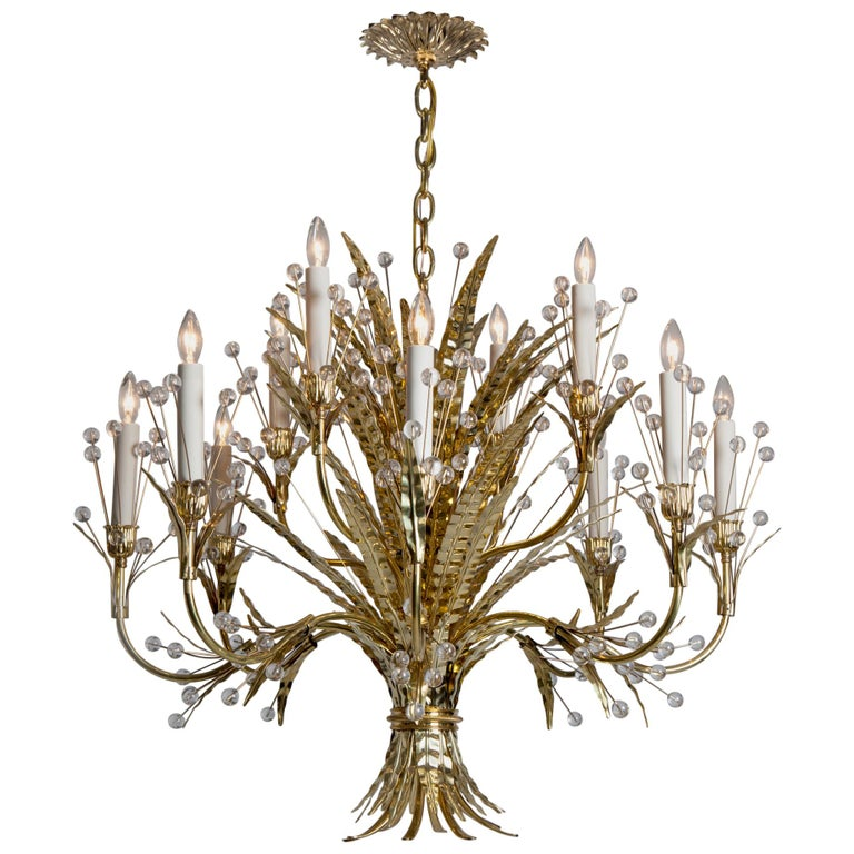 Plume 12 Chandelier Designed by Tony Duquette Remains Lighting in Polished Brass For Sale