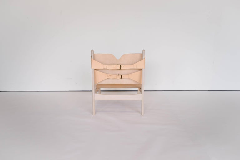 Mid-Century Modern Plume Chair by Sun at Six, Nude Midcentury Lounge Chair in Wood, Leather For Sale
