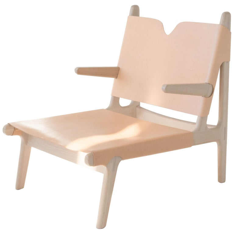 Plume Chair by Sun at Six, Nude Midcentury Lounge Chair in Wood, Leather For Sale