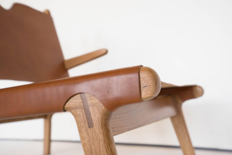 Chinese Plume Chair by Sun at Six, Sienna Midcentury Lounge Chair in Wood, Leather For Sale