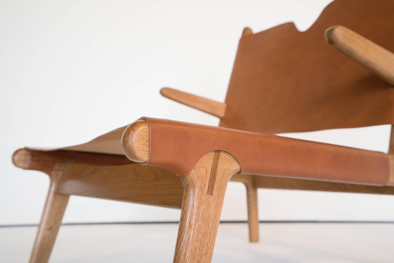 Plume Chair by Sun at Six, Sienna Midcentury Lounge Chair in Wood, Leather In New Condition For Sale In San Jose, CA