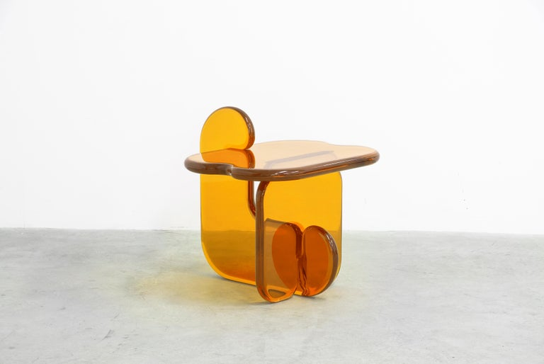 Cast Plump resin side table in Amaro Orange by Ian Alistair Cochran For Sale