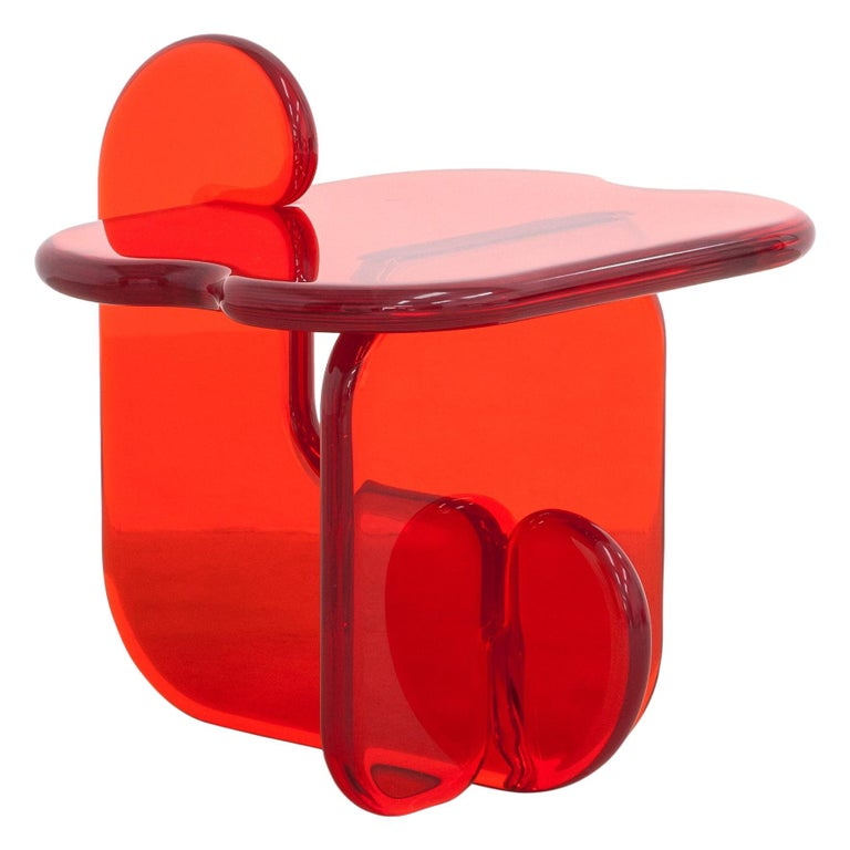 Plump resin side table in Amaro Orange by Ian Alistair Cochran For Sale