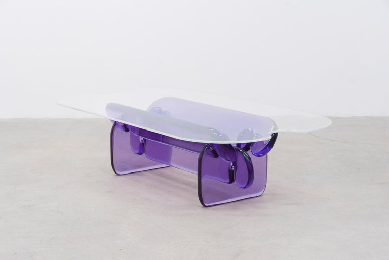 Plump resin table in Hard Candy Purple by Ian Alistair Cochran For Sale 3
