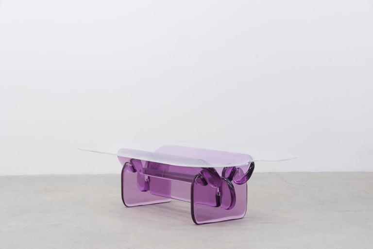 The Plump coffee table came about from a material interest in resin. The shapes play upon the effect that resin has as light is refracted through the solid parts. The table is only held together through notches at each joint. There are no glues or