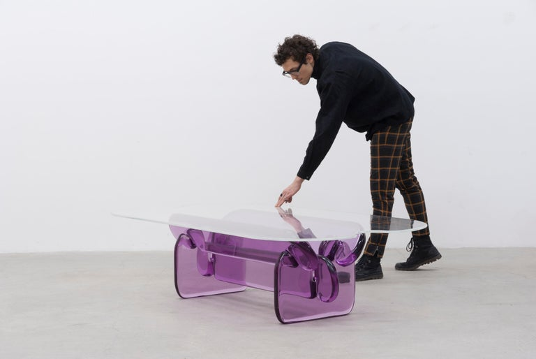 American Plump resin table in Hard Candy Purple by Ian Alistair Cochran For Sale