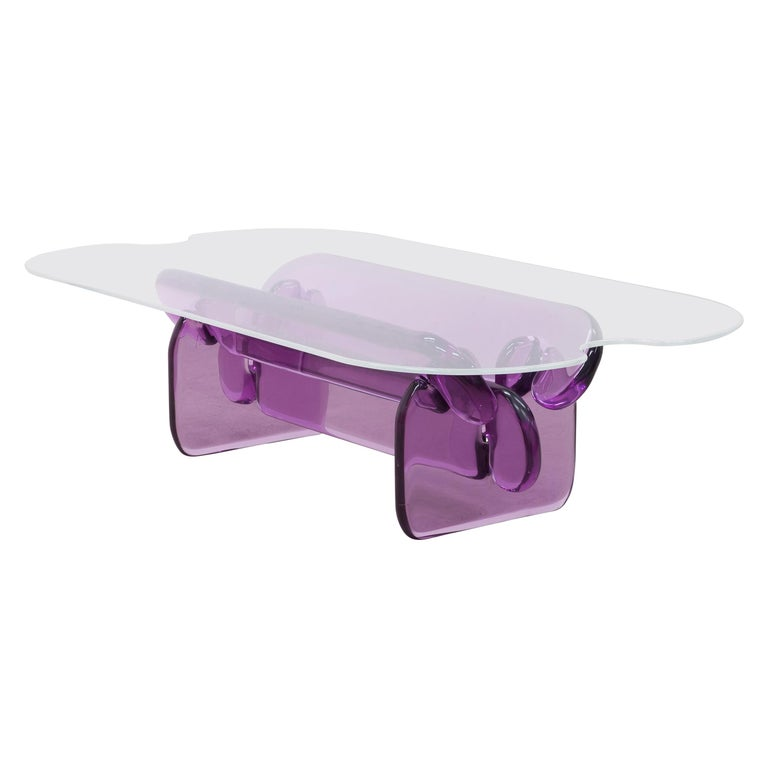 Plump resin table in Hard Candy Purple by Ian Alistair Cochran For Sale