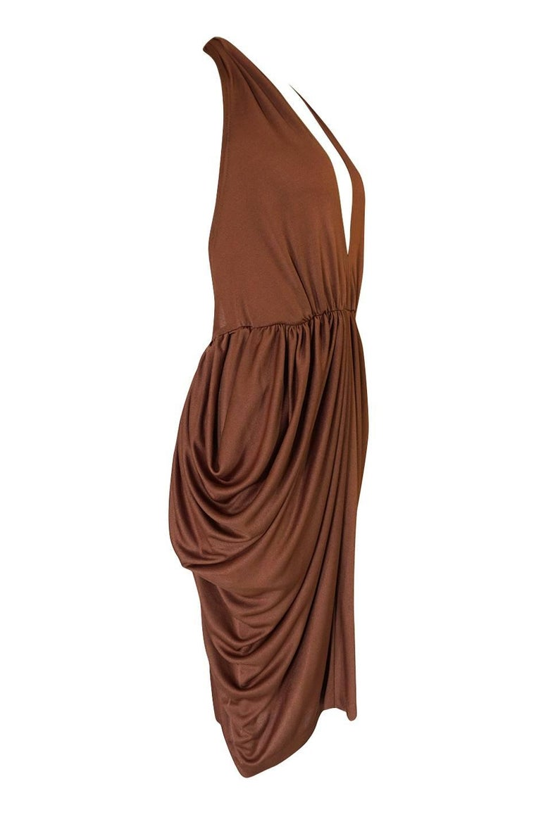 Brown Plunge Front Backless Halter Gathered Sides Jersey Dress, 1970s  For Sale