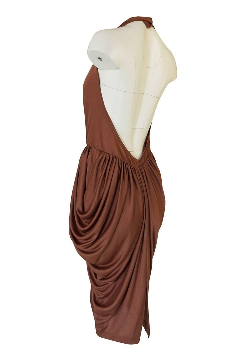 Women's Plunge Front Backless Halter Gathered Sides Jersey Dress, 1970s  For Sale