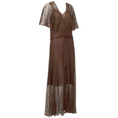 Plunging Sheer Brown Lace Capelet Flutter Gown and Slip - Medium, 1930s