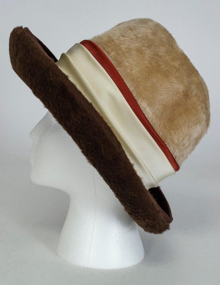 Gray Plush 2-Tone Beaver Fur Pimp Hat with Satin Band, 1974 For Sale