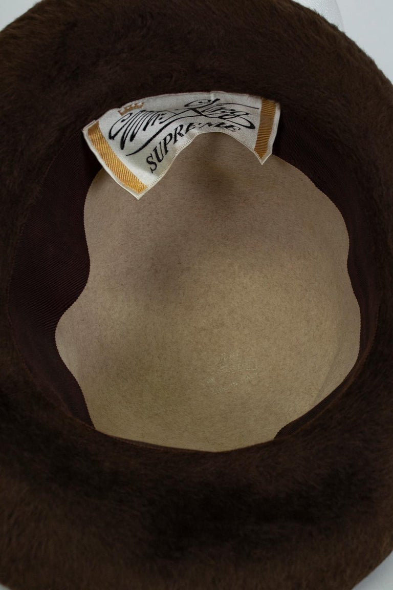 Women's Plush 2-Tone Beaver Fur Pimp Hat with Satin Band, 1974 For Sale