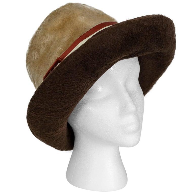 Plush 2-Tone Beaver Fur Pimp Hat with Satin Band, 1974 For Sale