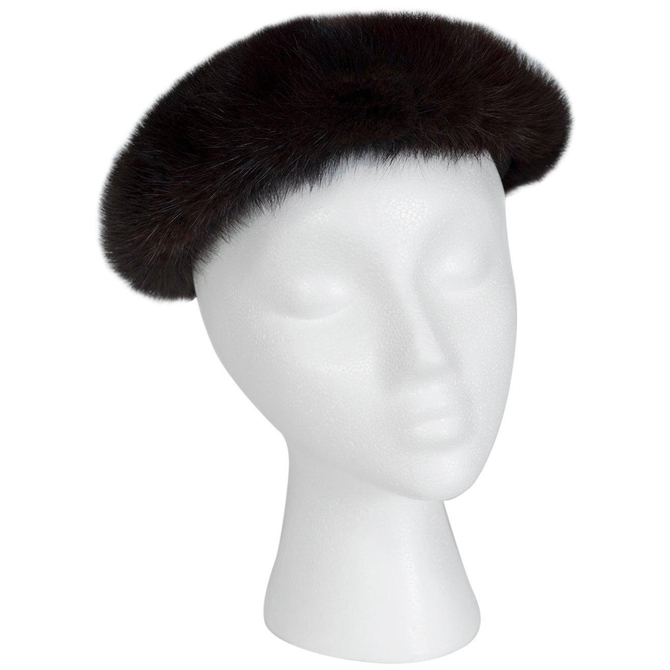 """Plush Black Mink Fur Pillbox Beret Hat - 21.5"""", 1960s"""