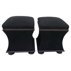 Plush Black Mohair & Mahogany Hourglass Ottomans with Storage by George Smith