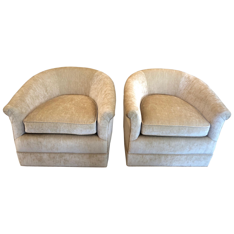 Plush Mid-Century Modern Curvy Swivel Camel Velvet Club Chairs