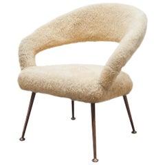 "Plush ""Model DU 55 P"" Lounge Armchair by Gastone Rinaldi, 1954"