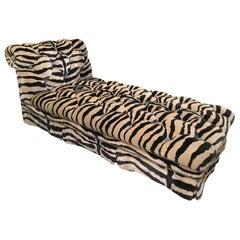 Plush Movie Star Animal Print Velvet Tufted Chaise Lounge