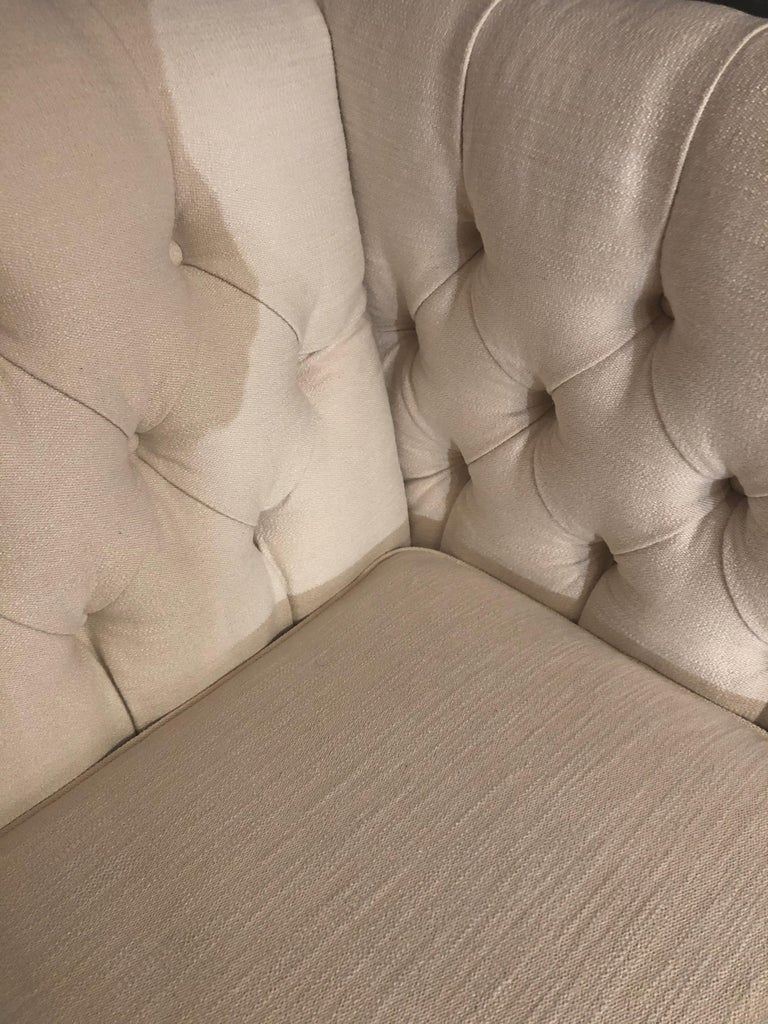 American Plush Tufted Box Shaped White Upholstered Loveseat For Sale