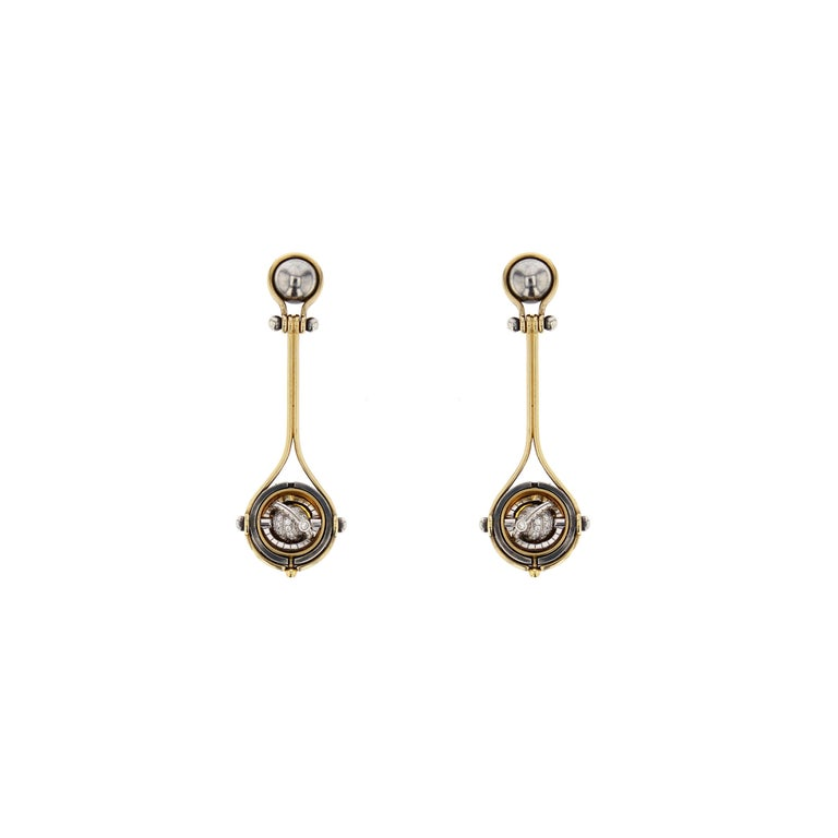 Pluton 18 Karat Yellow Gold Diamond Drop Pendant Earrings by Elie Top In New Condition For Sale In Paris, France