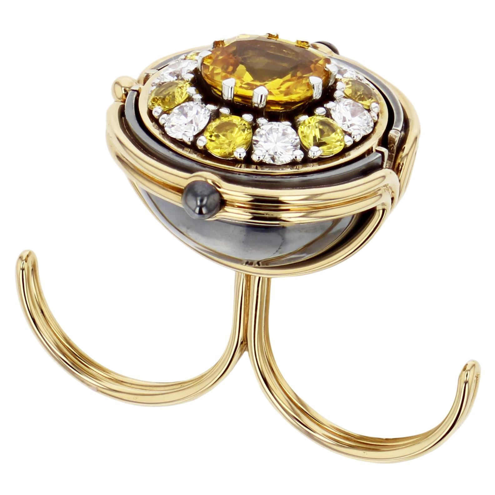Pluton Sphere 18 Karat Gold Yellow Sapphire Diamond Double Ring by Elie Top