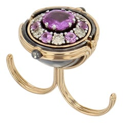 Pluton Sphere 18 Karat Rose Gold Pink Sapphires Diamond Double Ring by Elie Top