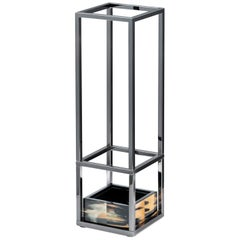 Pluvio Umbrella Stand in Corno Italiano, Wood and Stainless Steel, Mod. 1434
