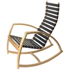 Plybent Maple Rocking Chair with Black Strap Seat Handcrafted in the USA