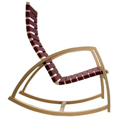 Plybent Maple Rocking Chair with Raspberry Strap Seat, Made in the USA