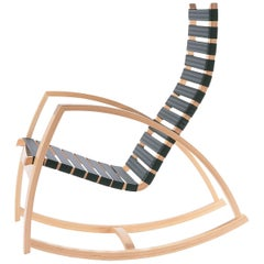Plybent Rocking Chair with Blue Strap Seat Handcrafted in the USA